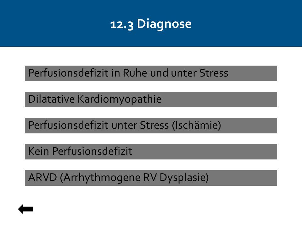 12.3 Diagnose Dilatative Kardiomyopathie Perfusionsdefizit unter Stress (Ischämie) ARVD (Arrhythmogene RV Dysplasie) Perfusionsdefizit in Ruhe und unter Stress Kein Perfusionsdefizit