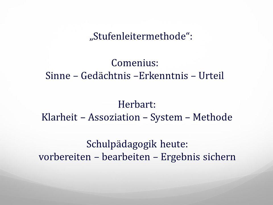 """Comenius: Sinne – Gedächtnis –Erkenntnis – Urteil Herbart: Klarheit – Assoziation – System – Methode """"Stufenleitermethode"""": Schulpädagogik heute: vorb"""