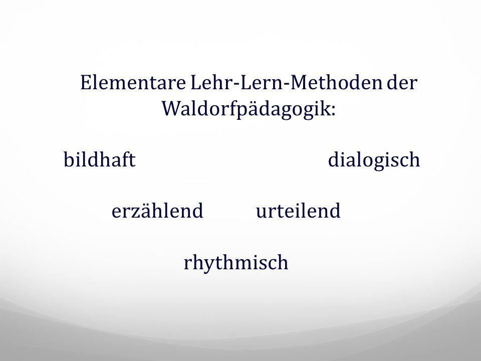 Elementare Lehr-Lern-Methoden der Waldorfpädagogik: bildhaftdialogisch erzählendurteilend rhythmisch