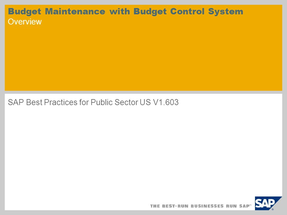 Budget Maintenance with Budget Control System Overview SAP Best Practices for Public Sector US V1.603