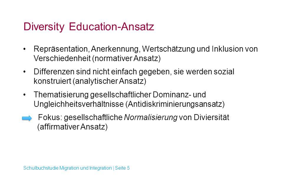 Diversity Education-Ansatz Repräsentation, Anerkennung, Wertschätzung und Inklusion von Verschiedenheit (normativer Ansatz) Differenzen sind nicht ein