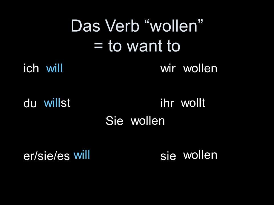 """Das Verb """"wollen"""" = to want to ichwir duihr Sie er/sie/essie will willst will wollen wollt wollen"""