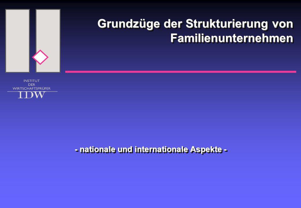 Grundzüge der Strukturierung von Familienunternehmen - nationale und internationale Aspekte -