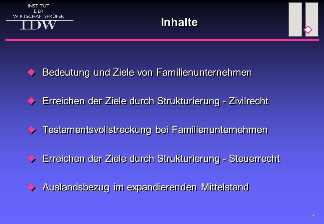 1 Inhalte  Bedeutung und Ziele von Familienunternehmen  Erreichen der Ziele durch Strukturierung - Zivilrecht  Testamentsvollstreckung bei Familien