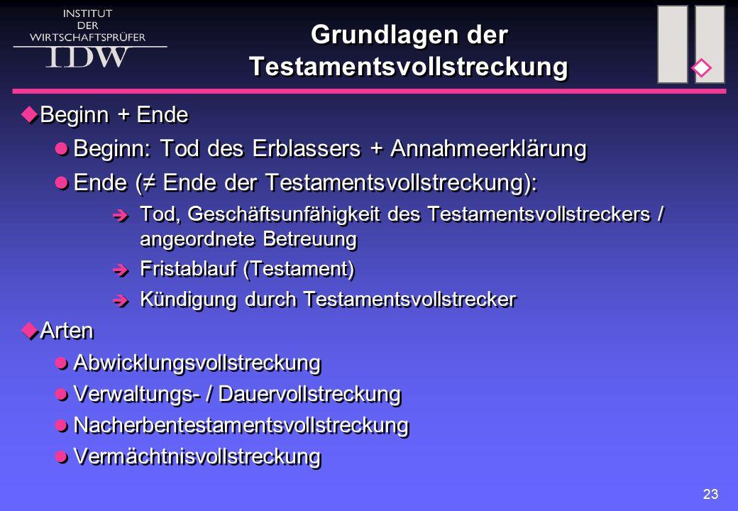 23 Grundlagen der Testamentsvollstreckung  Beginn + Ende Beginn: Tod des Erblassers + Annahmeerklärung Ende (≠ Ende der Testamentsvollstreckung):  T