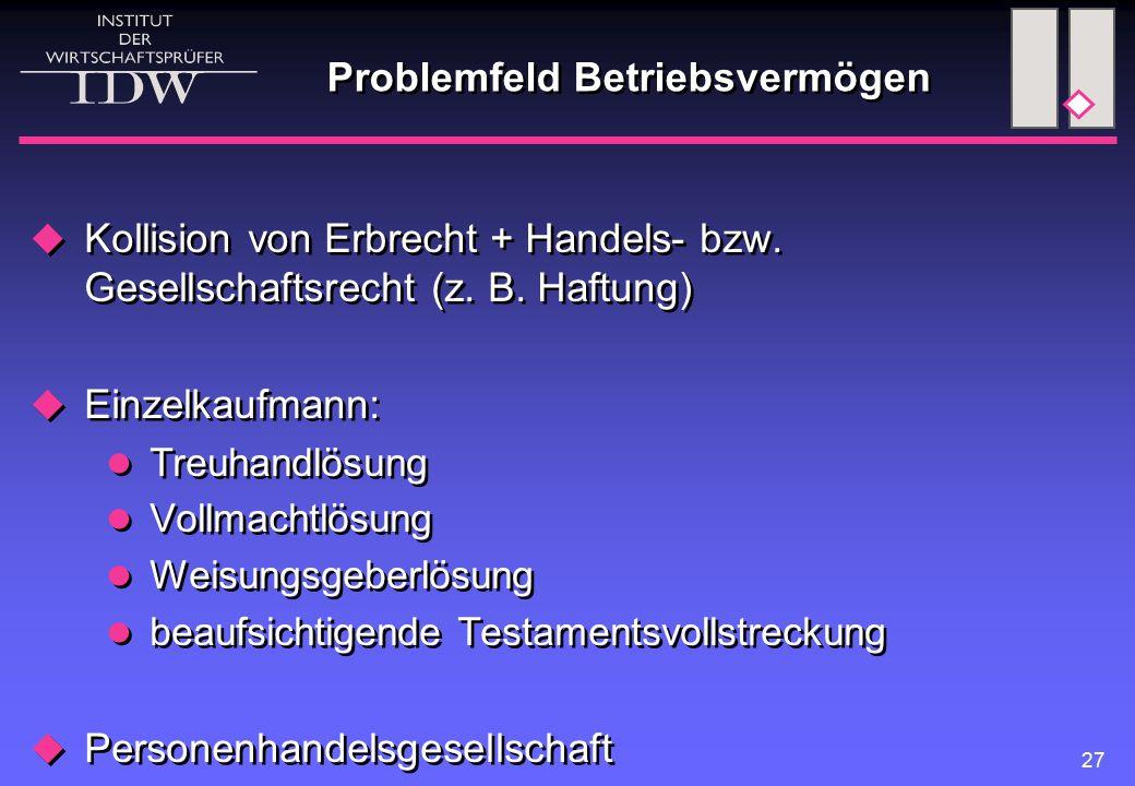 27 Problemfeld Betriebsvermögen  Kollision von Erbrecht + Handels- bzw. Gesellschaftsrecht (z. B. Haftung)  Einzelkaufmann: Treuhandlösung Vollmacht
