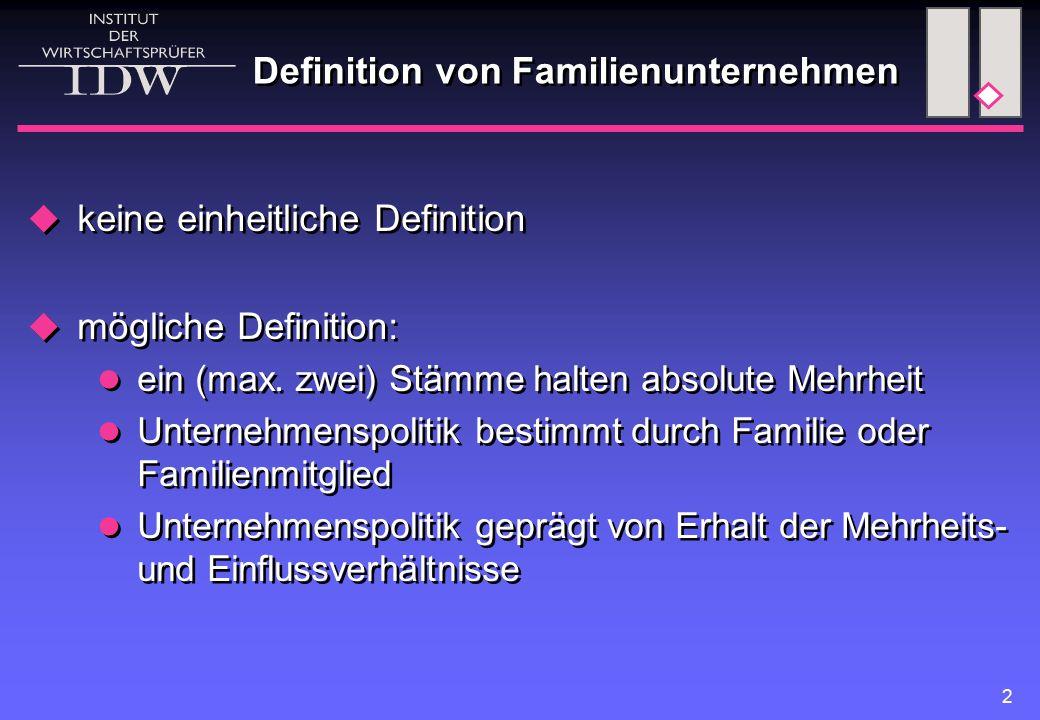 2 Definition von Familienunternehmen  keine einheitliche Definition  mögliche Definition: ein (max. zwei) Stämme halten absolute Mehrheit Unternehme