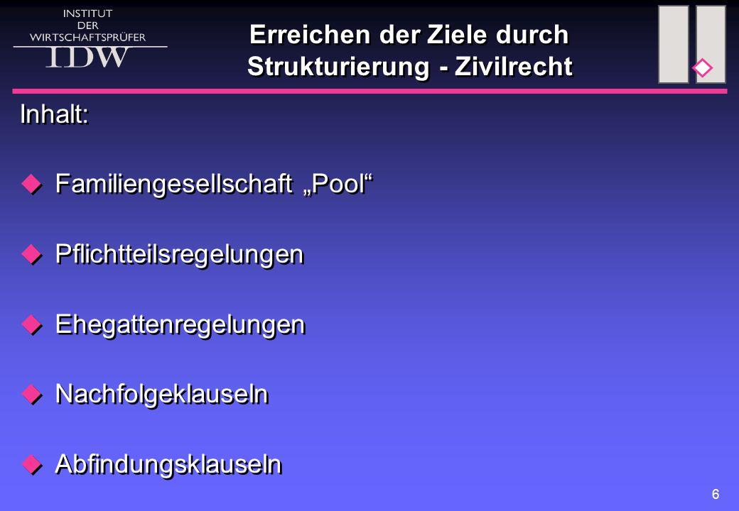 """6 Erreichen der Ziele durch Strukturierung - Zivilrecht Inhalt:  Familiengesellschaft """"Pool""""  Pflichtteilsregelungen  Ehegattenregelungen  Nachfol"""