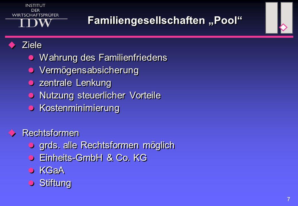 """7 Familiengesellschaften """"Pool""""  Ziele Wahrung des Familienfriedens Vermögensabsicherung zentrale Lenkung Nutzung steuerlicher Vorteile Kostenminimie"""