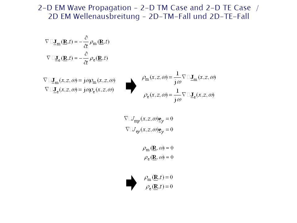 2-D EM Wave Propagation – 2-D TM Case and 2-D TE Case / 2D EM Wellenausbreitung – 2D-TM-Fall und 2D-TE-Fall