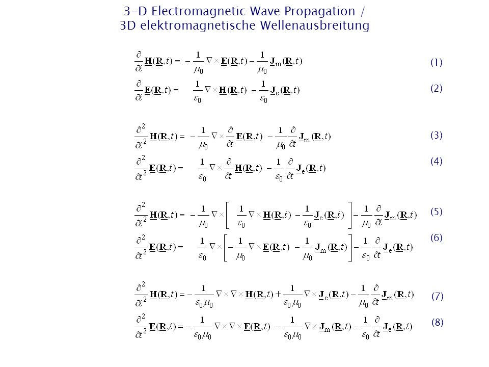 FD Method – 2-D TM Wave Equation / FD-Methode – 2D-TM-Wellengleichung Explicit 2-D FD algorithm in the time domain of 2nd order in space and time / Expliziter 2D FD-Algorithmus im Zeitbereich 2ter Ordnung in Raum und Zeit Homogeneous 2-D FD grid of quadratic cells / Homogenes 2D- FD-Gitter aus quadratischen Zellen