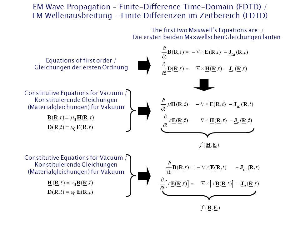 EM Wave Propagation – Finite-Difference Time-Domain (FDTD) / EM Wellenausbreitung – Finite Differenzen im Zeitbereich (FDTD) The first two Maxwell's Equations are: / Die ersten beiden Maxwellschen Gleichungen lauten: Constitutive Equations for Vacuum / Konstituierende Gleichungen (Materialgleichungen) für Vakuum Equations of first order / Gleichungen der ersten Ordnung