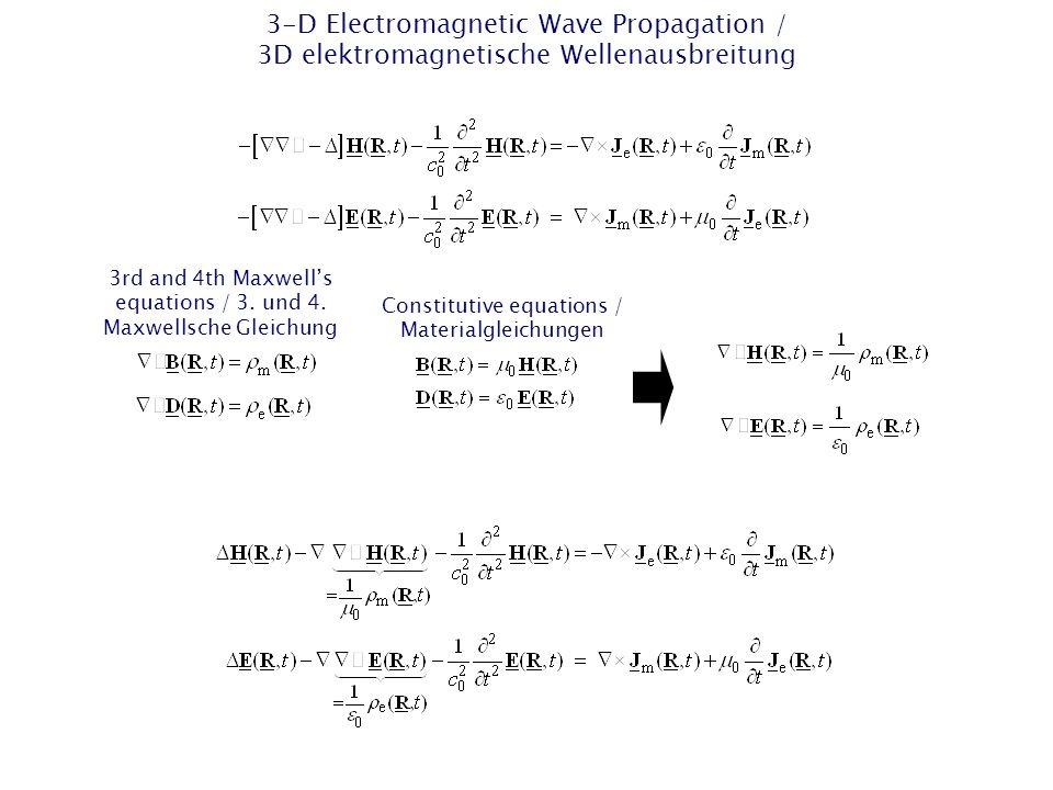 1-D EM Wave Propagation – Finite-Difference Time-Domain (FDTD) / 1D EM Wellenausbreitung – Finite Differenzen im Zeitbereich (FDTD) The first two Maxwell's Equations are: / Die ersten beiden Maxwellschen Gleichungen lauten: Constitutive Equations for Vacuum / Konstituierende Gleichungen (Materialgleichungen) für Vakuum Ansatz for the electric and magnetic field strength / Ansatz für die elektrische und magnetische Feldstärke