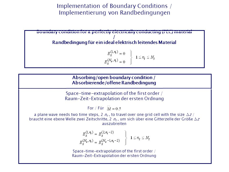 Implementation of Boundary Conditions / Implementierung von Randbedingungen Boundary condition for a perfectly electrically conducting (PEC) material / Randbedingung für ein ideal elektrisch leitendes Material Absorbing/open boundary condition / Absorbierende/offene Randbedingung For / Für a plane wave needs two time steps, 2 n t, to travel over one grid cell with the size ∆z / braucht eine ebene Welle zwei Zeitschritte, 2 n t, um sich über eine Gitterzelle der Größe ∆z auszubreiten Space-time-extrapolation of the first order / Raum-Zeit-Extrapolation der ersten Ordnung Space-time-extrapolation of the first order / Raum-Zeit-Extrapolation der ersten Ordnung