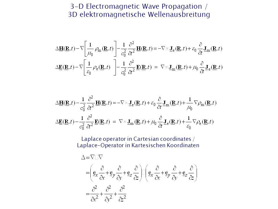 2-D EM Wave Propagation – 2-D TM Case / 2D EM Wellenausbreitung – 2D-TM-Fall Separation in 2-D → TM case / Separation in 2D → TM-Fall TM y case / TM y -Fall TM: transversal magnetic / transversal magnetisch xz plane / xz- Ebene Surface normal vector (unit-vector) / Flächennormalenvekt or (Einheitsvektor)