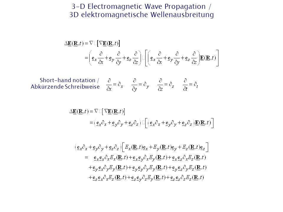 2-D EM Wave Propagation – 2-D TE Case / 2D EM Wellenausbreitung – 2D-TE-Fall Separation in 2-D → TE case / Separation in 2D → TE- Fall TE y case / TE y -Fall TE: transversal electric / transversal elektrisch xz plane / xz- Ebene Surface normal vector (unit-vector) / Flächennormalenvekt or (Einheitsvektor)