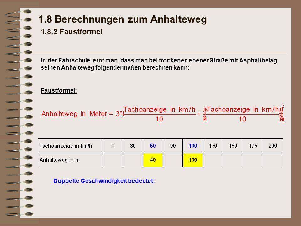 1.8 Berechnungen zum Anhalteweg 1.8.2 Faustformel Faustformel: Doppelte Geschwindigkeit bedeutet: In der Fahrschule lernt man, dass man bei trockener,
