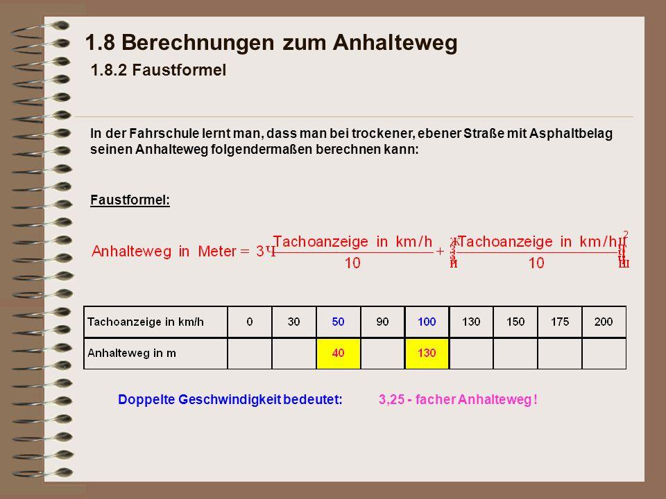 1.8 Berechnungen zum Anhalteweg 1.8.2 Faustformel Faustformel: 3,25 - facher Anhalteweg !Doppelte Geschwindigkeit bedeutet: In der Fahrschule lernt ma