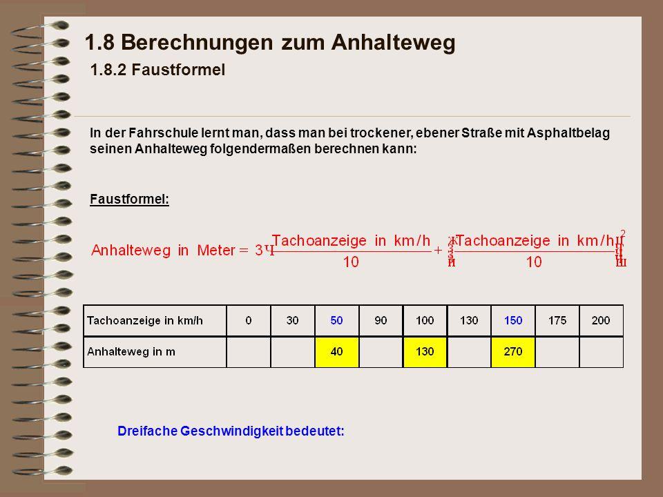 Dreifache Geschwindigkeit bedeutet: 1.8 Berechnungen zum Anhalteweg 1.8.2 Faustformel Faustformel: In der Fahrschule lernt man, dass man bei trockener