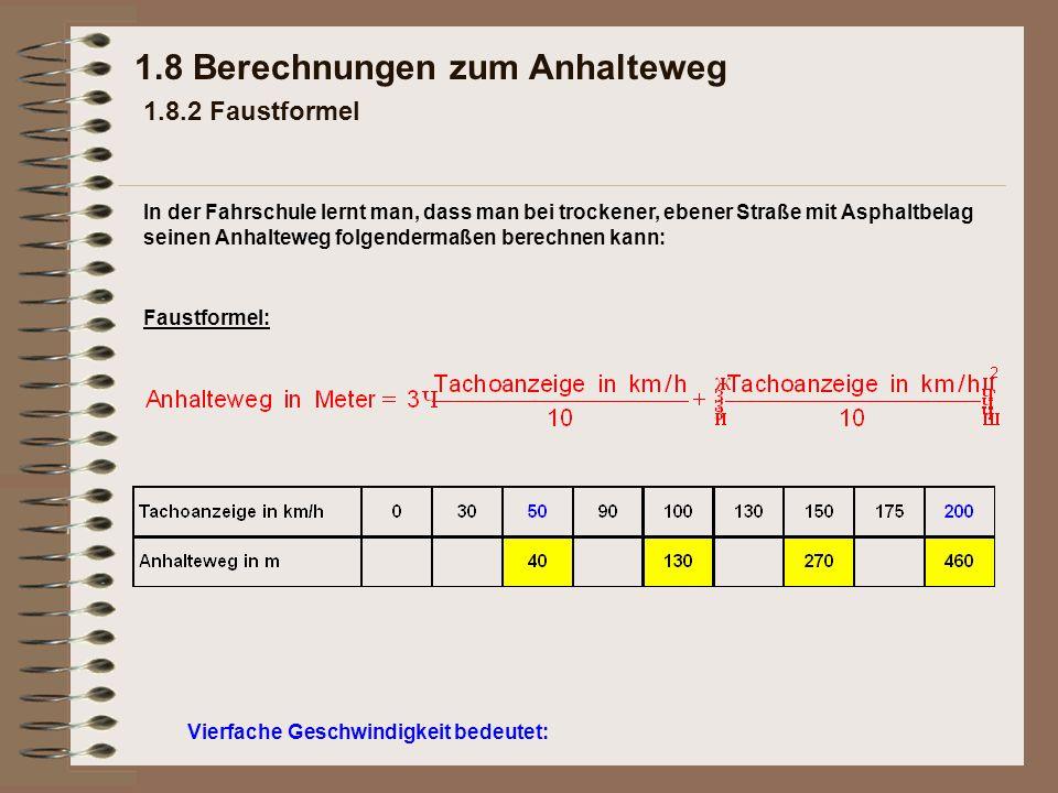 Vierfache Geschwindigkeit bedeutet: 1.8 Berechnungen zum Anhalteweg 1.8.2 Faustformel Faustformel: In der Fahrschule lernt man, dass man bei trockener