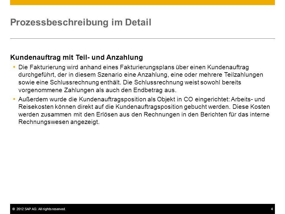 ©2012 SAP AG. All rights reserved.4 Prozessbeschreibung im Detail Kundenauftrag mit Teil- und Anzahlung  Die Fakturierung wird anhand eines Fakturier