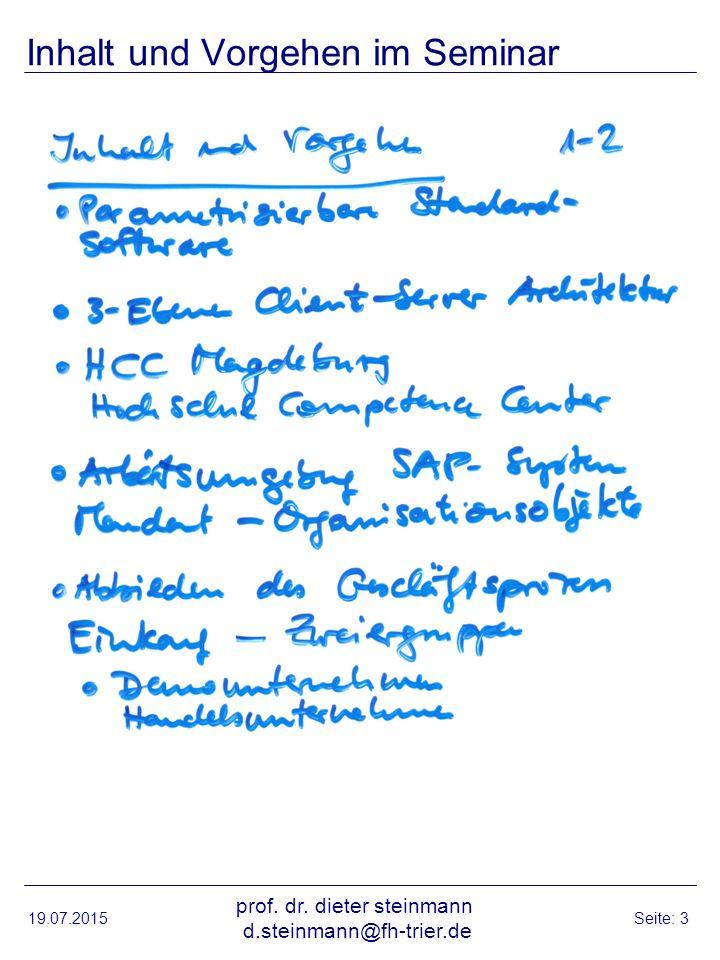 Geschäftsprozess Einkauf 19.07.2015 prof. dr. dieter steinmann d.steinmann@fh-trier.de Seite: 4