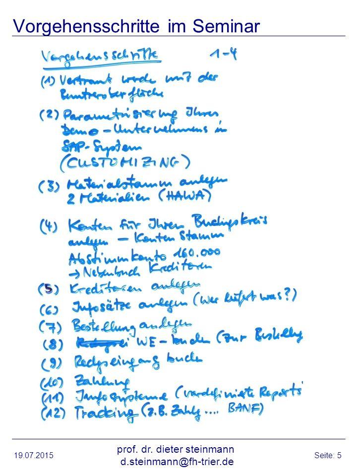 Vorgehensschritte im Seminar 19.07.2015 prof. dr. dieter steinmann d.steinmann@fh-trier.de Seite: 5