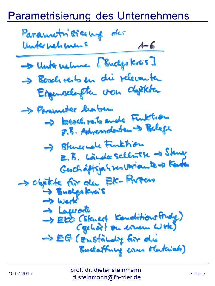 Parametrisierung des Unternehmens 19.07.2015 prof.