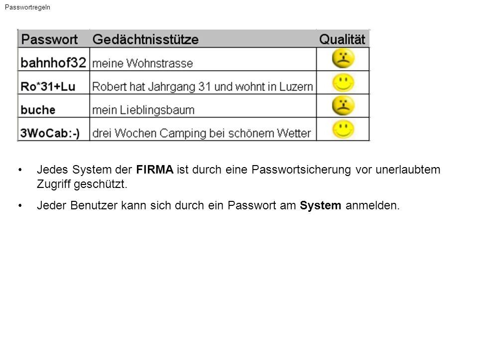 Passwortregeln Jedes System der FIRMA ist durch eine Passwortsicherung vor unerlaubtem Zugriff geschützt.