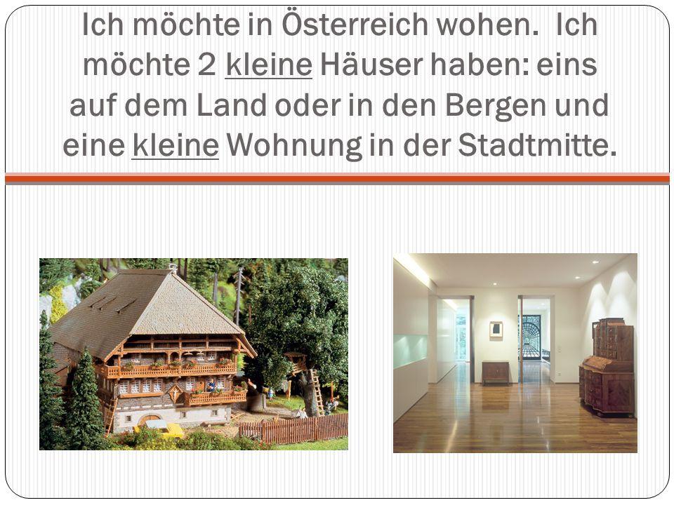 Ich möchte in Österreich wohen. Ich möchte 2 kleine Häuser haben: eins auf dem Land oder in den Bergen und eine kleine Wohnung in der Stadtmitte.