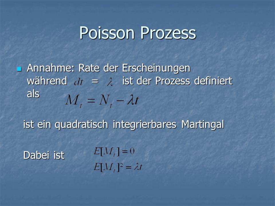 Poisson Prozess Annahme: Rate der Erscheinungen während = ist der Prozess definiert als Annahme: Rate der Erscheinungen während = ist der Prozess definiert als ist ein quadratisch integrierbares Martingal ist ein quadratisch integrierbares Martingal Dabei ist Dabei ist