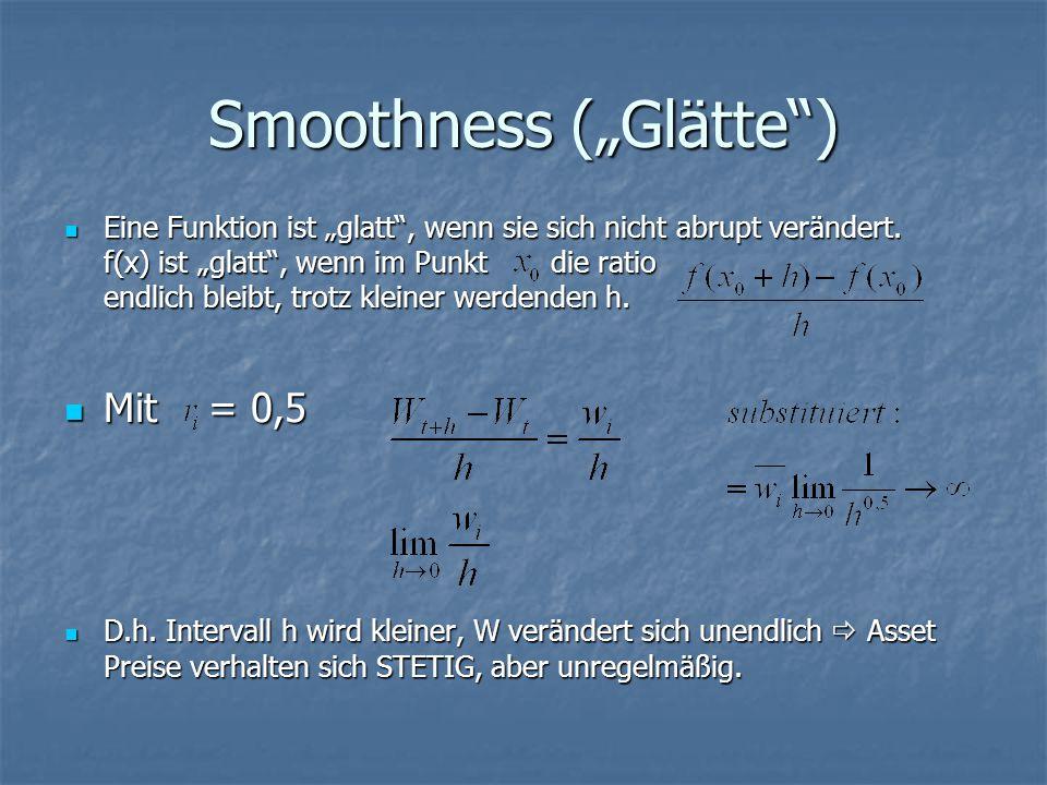 """Smoothness (""""Glätte ) Eine Funktion ist """"glatt , wenn sie sich nicht abrupt verändert."""
