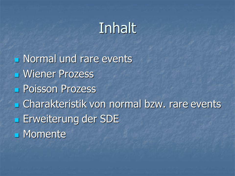 Inhalt Normal und rare events Normal und rare events Wiener Prozess Wiener Prozess Poisson Prozess Poisson Prozess Charakteristik von normal bzw.