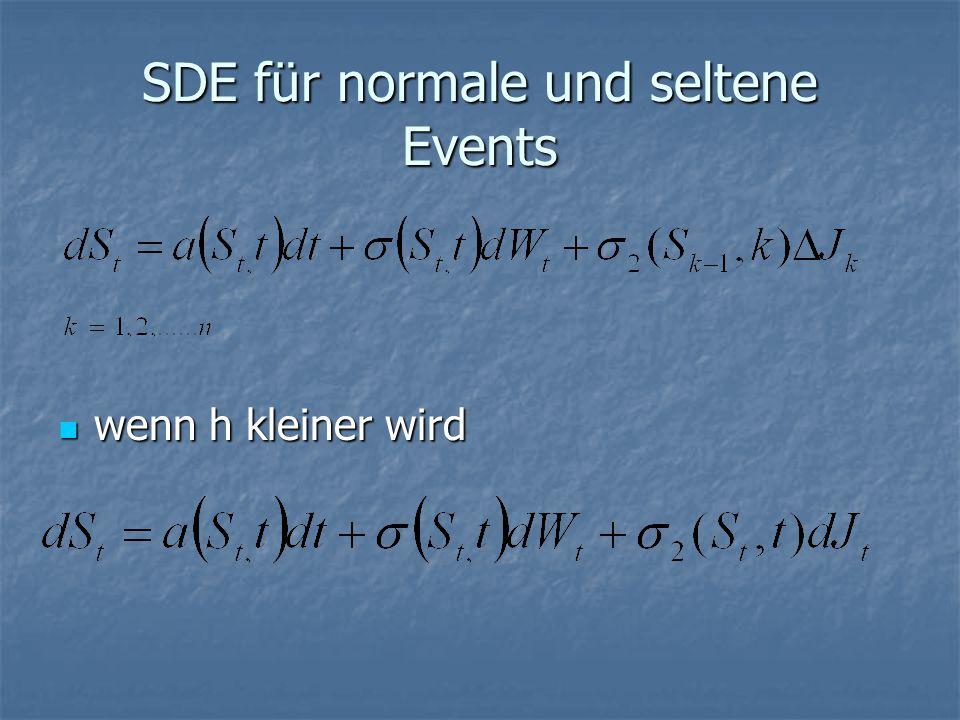 SDE für normale und seltene Events wenn h kleiner wird wenn h kleiner wird