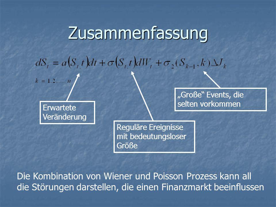 """Zusammenfassung Erwartete Veränderung Reguläre Ereignisse mit bedeutungsloser Größe """"Große Events, die selten vorkommen Die Kombination von Wiener und Poisson Prozess kann all die Störungen darstellen, die einen Finanzmarkt beeinflussen"""