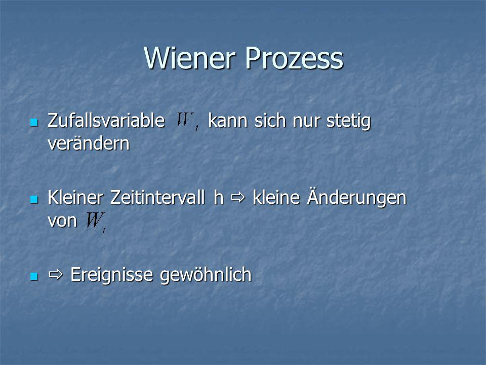 Wiener Prozess Zufallsvariable kann sich nur stetig verändern Zufallsvariable kann sich nur stetig verändern Kleiner Zeitintervall h  kleine Änderungen von Kleiner Zeitintervall h  kleine Änderungen von  Ereignisse gewöhnlich  Ereignisse gewöhnlich