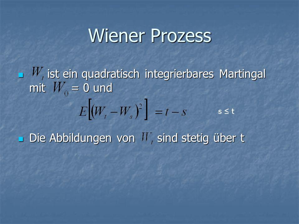 Wiener Prozess ist ein quadratisch integrierbares Martingal mit = 0 und ist ein quadratisch integrierbares Martingal mit = 0 und Die Abbildungen von sind stetig über t Die Abbildungen von sind stetig über t s ≤ t