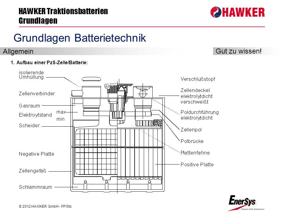 HAWKER Traktionsbatterien Grundlagen © 2012 HAWKER GmbH - FP/Sts FP/Roland Geile Grundlagen Batterietechnik 1. Aufbau einer PzS-Zelle/Batterie: Allgem