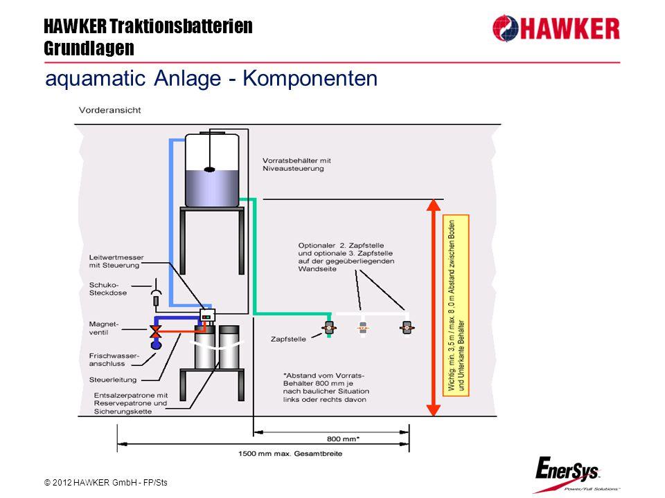 HAWKER Traktionsbatterien Grundlagen © 2012 HAWKER GmbH - FP/Sts FP/Roland Geile aquamatic Anlage - Komponenten