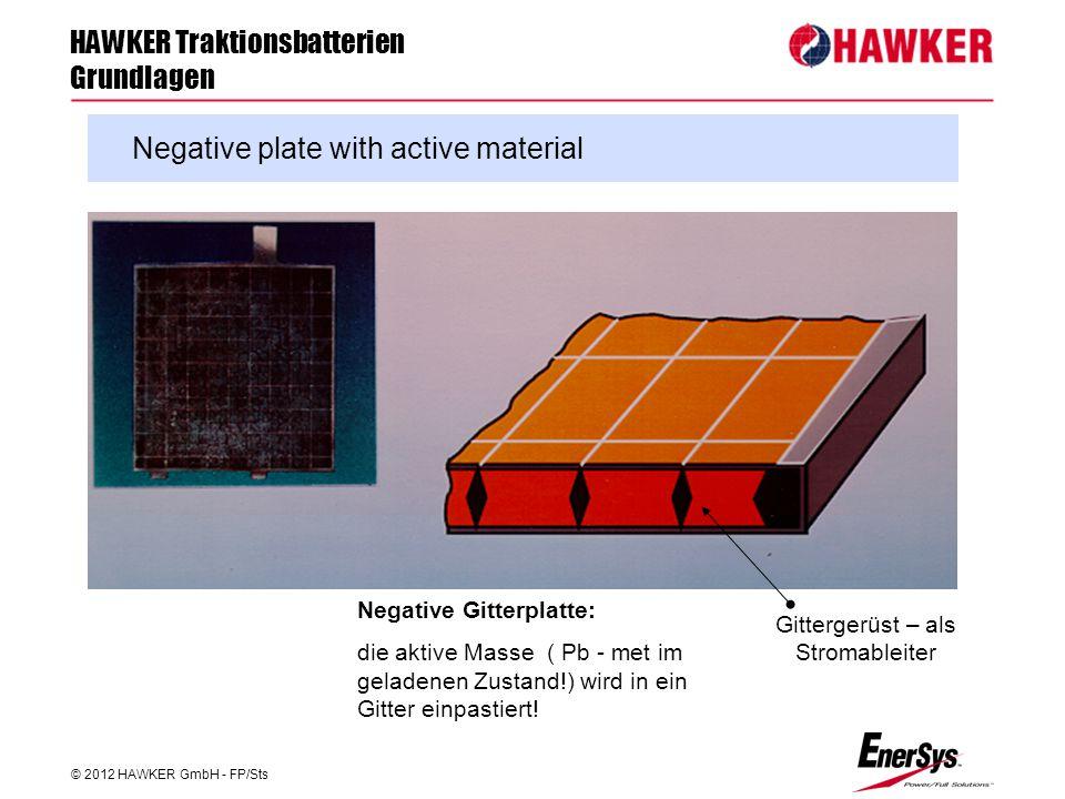 HAWKER Traktionsbatterien Grundlagen © 2012 HAWKER GmbH - FP/Sts FP/Roland Geile Negative plate with active material Negative Gitterplatte: die aktive