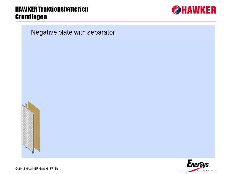 HAWKER Traktionsbatterien Grundlagen © 2012 HAWKER GmbH - FP/Sts FP/Roland Geile Negative plate with separator
