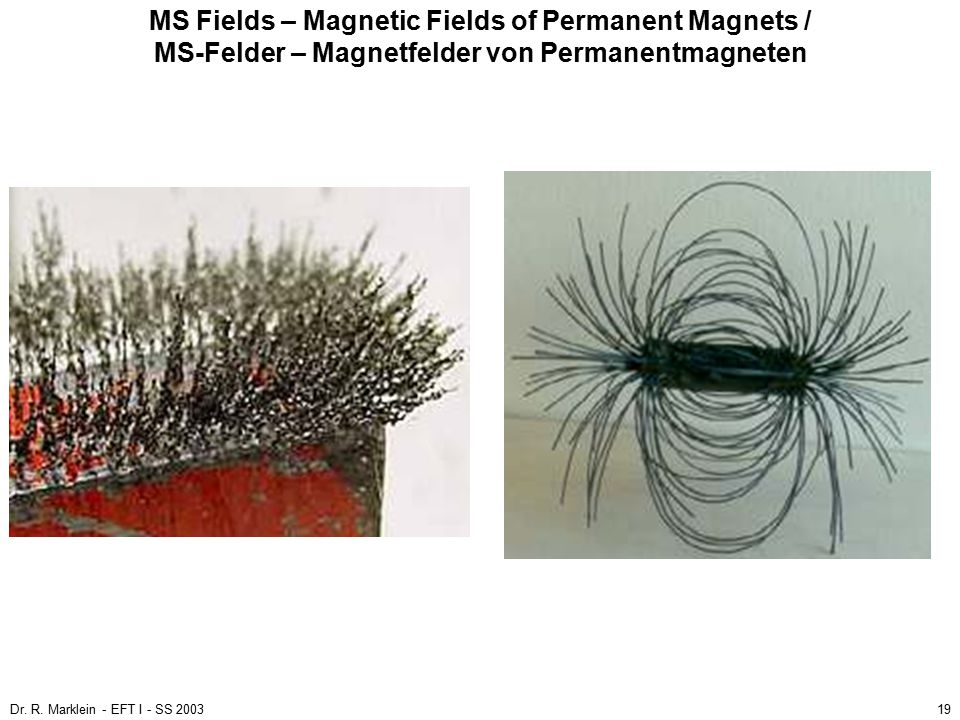 Dr. R. Marklein - EFT I - SS 200319 MS Fields – Magnetic Fields of Permanent Magnets / MS-Felder – Magnetfelder von Permanentmagneten