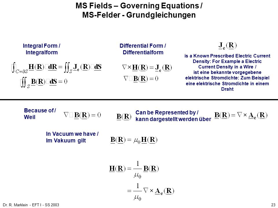 Dr. R. Marklein - EFT I - SS 200323 MS Fields – Governing Equations / MS-Felder - Grundgleichungen Integral Form / Differential Form / Integralform Di