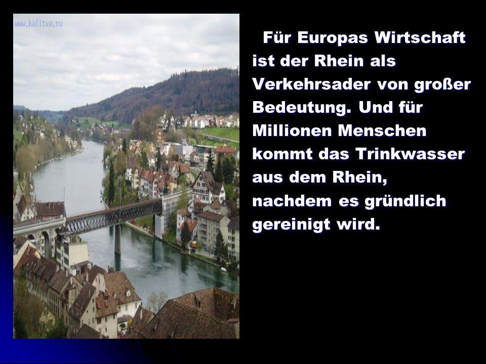 Für Europas Wirtschaft Für Europas Wirtschaft ist der Rhein als Verkehrsader von großer Bedeutung. Und für Millionen Menschen kommt das Trinkwasser au