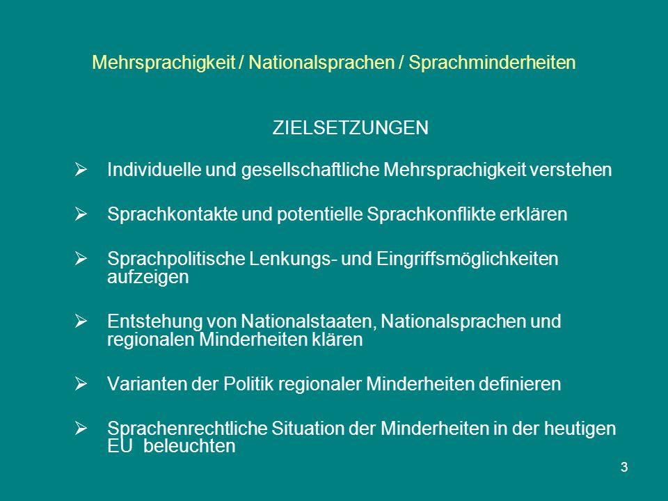 Mehrsprachigkeit / Nationalsprachen / Sprachminderheiten ZIELSETZUNGEN  Individuelle und gesellschaftliche Mehrsprachigkeit verstehen  Sprachkontakt