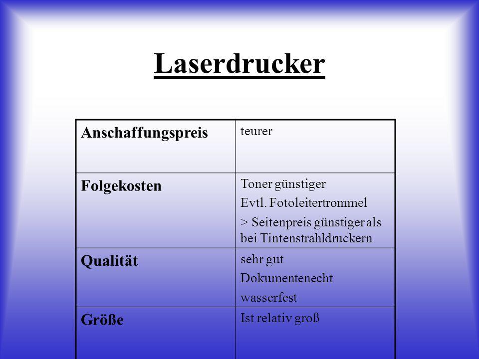 Laserdrucker Anschaffungspreis teurer Folgekosten Toner günstiger Evtl.