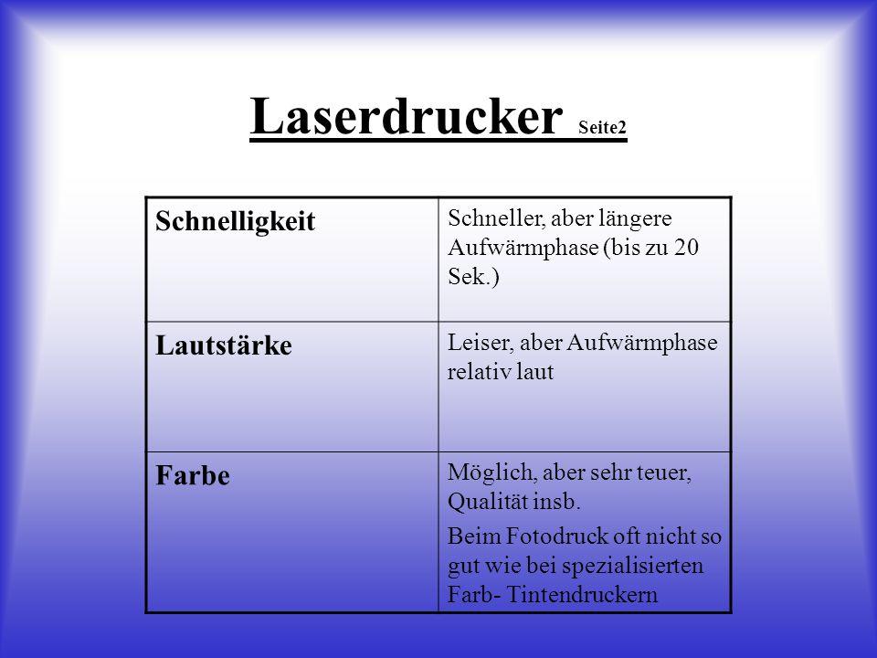 Laserdrucker Seite2 Schnelligkeit Schneller, aber längere Aufwärmphase (bis zu 20 Sek.) Lautstärke Leiser, aber Aufwärmphase relativ laut Farbe Möglich, aber sehr teuer, Qualität insb.