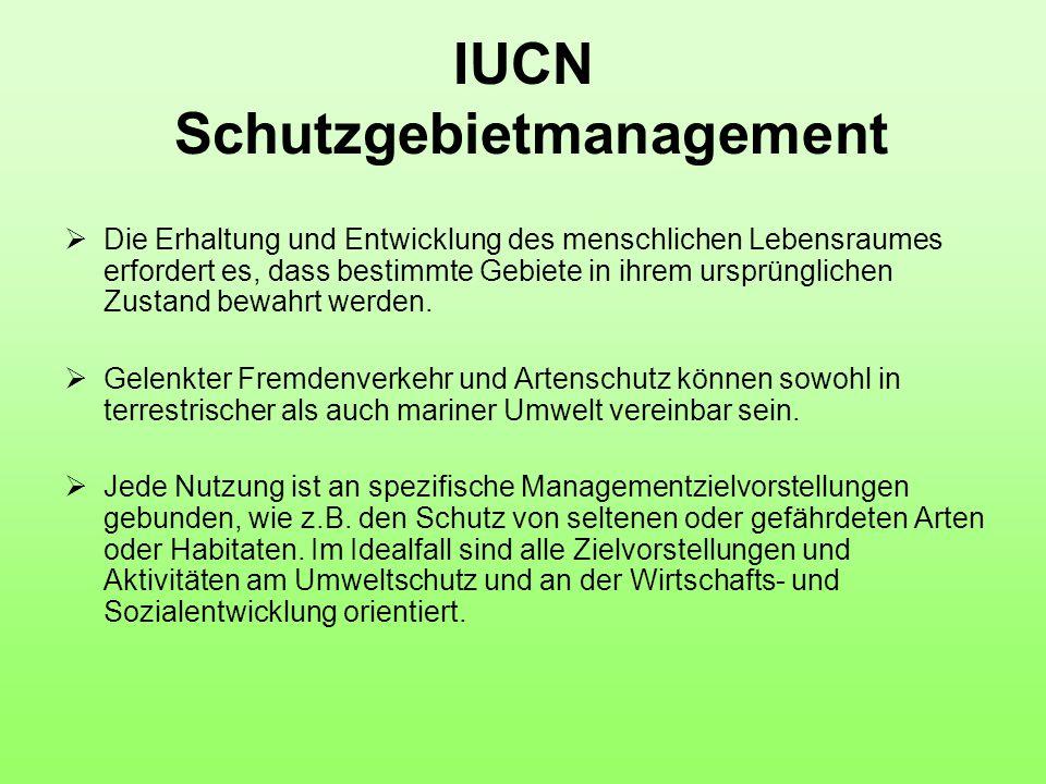 IUCN Schutzgebietmanagement  Die Erhaltung und Entwicklung des menschlichen Lebensraumes erfordert es, dass bestimmte Gebiete in ihrem ursprünglichen Zustand bewahrt werden.