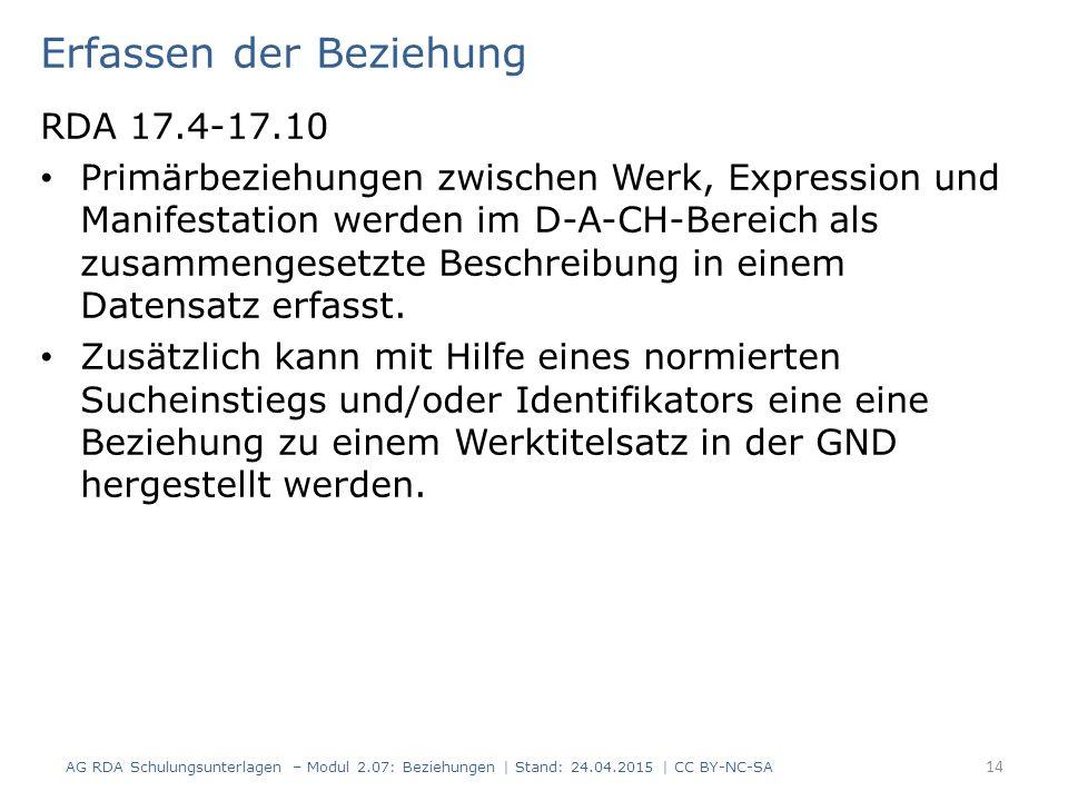 Erfassen der Beziehung RDA 17.4-17.10 Primärbeziehungen zwischen Werk, Expression und Manifestation werden im D-A-CH-Bereich als zusammengesetzte Besc