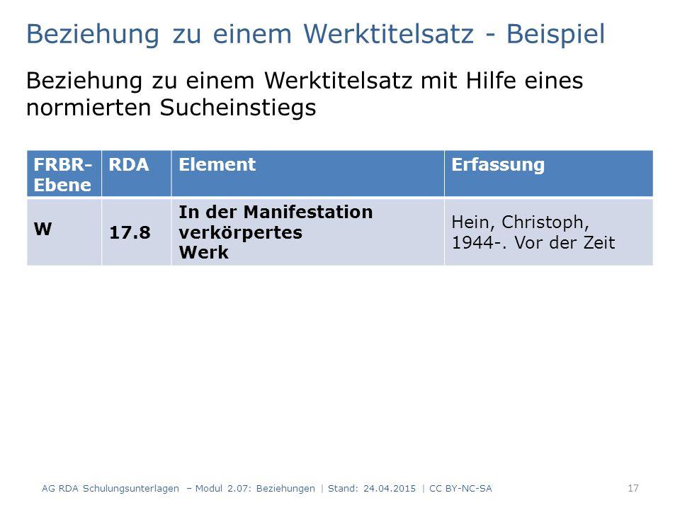 17 FRBR- Ebene RDAElementErfassung W 17.8 In der Manifestation verkörpertes Werk Hein, Christoph, 1944-. Vor der Zeit Beziehung zu einem Werktitelsatz